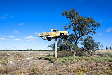 Old truck on a huge pole in the Mungo National Park, part of  the Willandra Lakes Region, UNESCO World Heritage Site, Victoria, Australia, Pacific