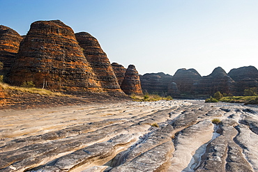 Dry river and beehive-like mounds in the Purnululu National Park, UNESCO World Heritage Site, Bungle Bungle mountain range, Western Australia, Australia, Pacific