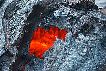 Active lava stream, Tolbachik volcano, Kamchatka, Russia, Eurasia
