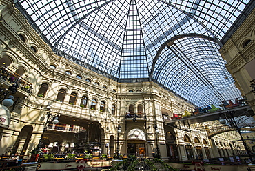 Gallery in GUM, the largest department store in Moscow, Russia, Europe