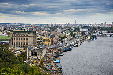 View over city and Dnieper River, Kiev (Kyiv), Ukraine, Europe