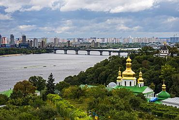 View over city, the Kiev-Pechersk Lavra and the Dnieper River, Kiev (Kyiv), Ukraine, Europe