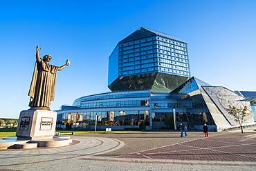 Statue of Francysk Skaryna in front of the National Library of Belarus, Minsk, Belarus, Europe