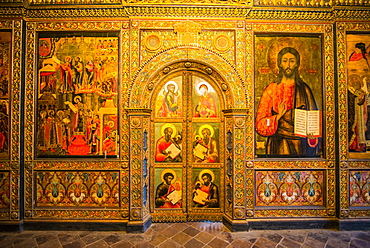 Colourful wall paintings in the Church of Elijah the Prophet in Yaroslavl, UNESCO World Heritage Site, Golden Ring, Russia, Europe