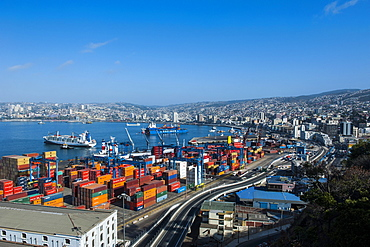 View over the cargo port of Valparaiso, Chile, South America