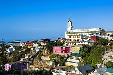 View over the Historic Quarter, UNESCO World Heritage Site, Valparaiso, Chile, South America