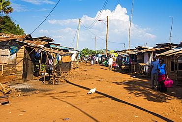Dusty village on the Nile near Jinja, Uganda, East Africa, Africa