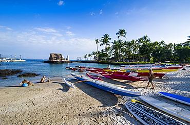 Outrigger boats on Kamakahonu beach, Kailua-Kona, Big Island, Hawaii, United States of America, Pacific