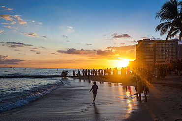 Sunset over the high rise buildings on Waikiki Beach, Oahu, Hawaii, United States of America, Pacific