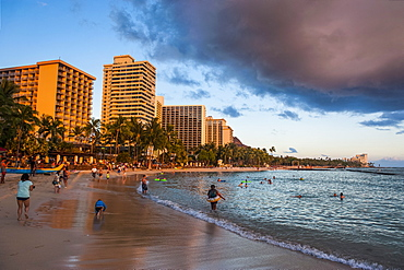 Late afternoon sun over the hotels on Waikiki Beach, Oahu, Hawaii, United States of America, Pacific
