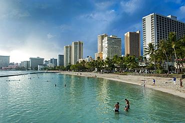 High rise hotels on Waikiki Beach, Oahu, Hawaii, United States of America, Pacific