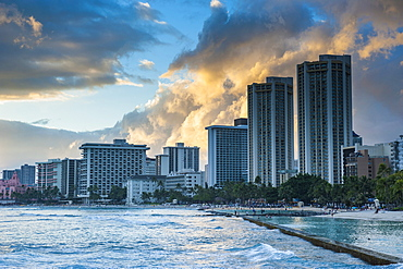 Late afternoon light over the high rise hotels of Waikiki Beach, Oahu, Hawaii, United States of America, Pacific