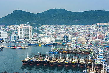 View over the harbour and fishing fleet of Busan, South Korea, Asia