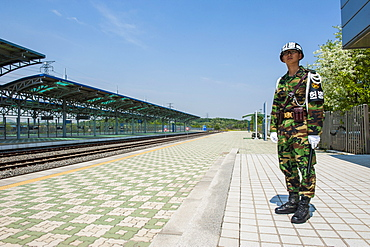 Frontier soldier at the Dorasan railway station at the high security border between South and North Korea, Panmunjom, South Korea, Asia