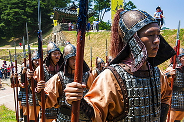 Changing of the guard ceremony, Gongsanseong, Gongju Castle, South Chungcheong Province, South Korea, Asia