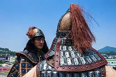 Traditional helmet of a guard at the changing of the guard ceremony, Gongsanseong, Gongju Castle, South Chungcheong Province, South Korea, Asia