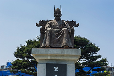 General Gyebaek statue in front of the Buso Mountain Fortress in the Busosan Park, Buyeo, South Korea, Asia