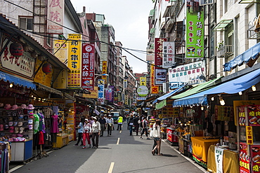 Business street in Danshui, suburb of Taipei, Taiwan, Asia