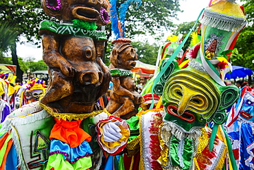 Colourful dressed participants in the Carneval (Carnival) in Santo Domingo, Dominican Republic, West Indies, Caribbean, Central America