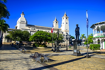 Town square of Puerto Plata with Cathedral of St. Philip the Apostle, Dominican Republic, West Indies, Caribbean, Central America