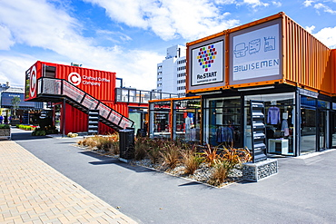 Rebuild center in containers in Christchurch, Canterbury, South Island, New Zealand, Pacific