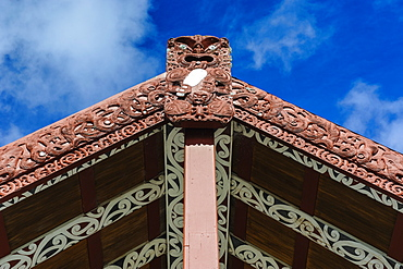 Wood carved roof in the Te Puia Maori Cultural Center, Rotorura, North Island, New Zealand, Pacific