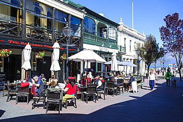 Cafe in the pedestrian zone of Queenstown, Otago, South Island, New Zealand, Pacific