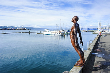 Modern art statue at the Waterfront of Lambton harbour, Wellington, North Island, New Zealand, Pacific
