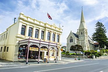 Victorian historical building and St. Lukes Church, Harbour-Tyne historic precinct, Oamaru, Otago, South Island, New Zealand, Pacific