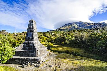 Memorial on the bottom of Mount Taranaki, North Island, New Zealand, Pacific
