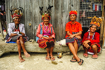 Traditional dressed Ifugao women sitting in Banaue, UNESCO World Heritage Site, Northern Luzon, Philippines, Southeast Asia, Asia