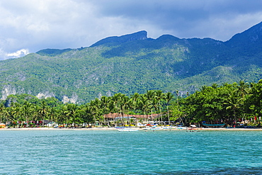 Sandy beach in front of the entrance to the New wonder of the world and UNESCO World Heritage Site, the Puerto Princesa underground river, Palawan, Philippines, Southeast Asia, Asia