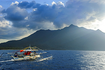 Outrigger cruising on the waters around the New wonder of the world and UNESCO World Heritage Site, the Puerto Princesa underground river, Palawan, Philippines, Southeast Asia, Asia