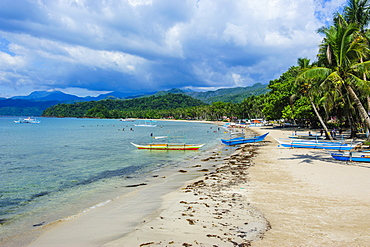 Sandy beach in front of the entrance to the New wonder of the world, the Puerto Princesa underground river, UNESCO World Heritage Site, Palawan, Philippines, Southeast Asia, Asia