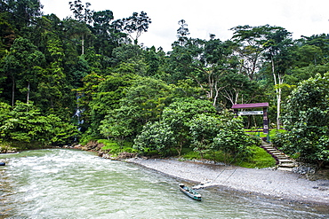 Bohorok River in front of the Bukit Lawang Orang Utan Rehabilitation station, Sumatra, Indonesia, Southeast Asia, Asia