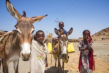Happy young Bedouin children in the lowlands of Eritrea, Africa