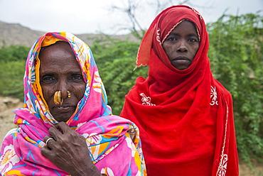 Portrait of two Eritrean Bedouin women in the lowlands of Eritrea, Africa