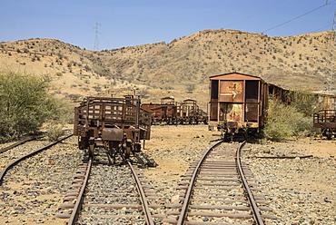 Old coaches of the Italian railway from Massawa to Asmara, Eritrea, Africa