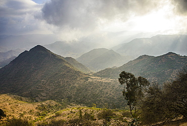 Outlook over the mountains along the road from Massawa to Asmara, Eritrea, Africa