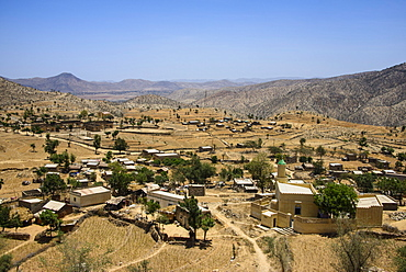 View over a little village along the road from Massawa to Asmara, Eritrea, Africa