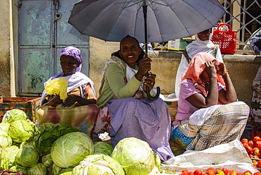 Friendly market women on the Market of Adi Keyh, Eritrea, Africa