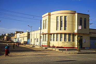Italian Art Deco building in Dekemhare along the road from Asmara to Qohaito, Eritrea, Africa