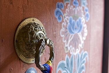 Knocker at entrance door, Paro Tsechu, Bhutan, Asia