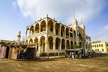 Destroyed former Banco d'Italia in the old port town of Massawa, Eritrea, Africa