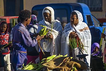 Orthodox dressed woman buying vegetables, Asmara, capital of Eritrea, Africa