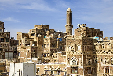 Traditional build old houses in the Old Town, UNESCO World Heritage Site, Sanaa, Yemen, Middle East