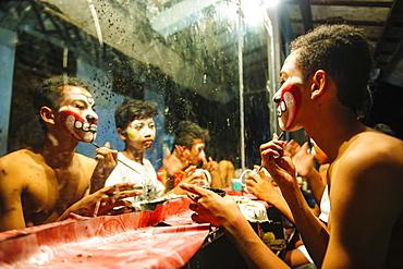 Male dancers preparing for a traditional Javanese dance, Yogyakarta, Java, Indonesia, Southeast Asia, Asia