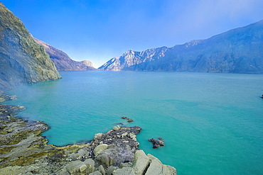 The very acid Ijen crater lake in the Ijen Volcano, Java, Indonesia, Southeast Asia, Asia