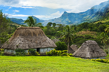 Traditional thatched roofed huts in Navala in the Ba Highlands of Viti Levu, Fiji, South Pacific, Pacific