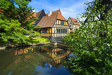 Little pond in the Old Town, Den Gamle By, open air museum in Aarhus, Denmark, Scandinavia, Europe